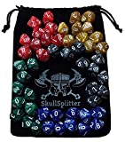 Skull Splitter Dice - D10 DICE SET-5 Complete Sets, Perfect for wod or Math Dice Games - 10 Sided Polyhedral Dice, Table Top rpg Games Hit Point / Level Counters, Opaque Marbled