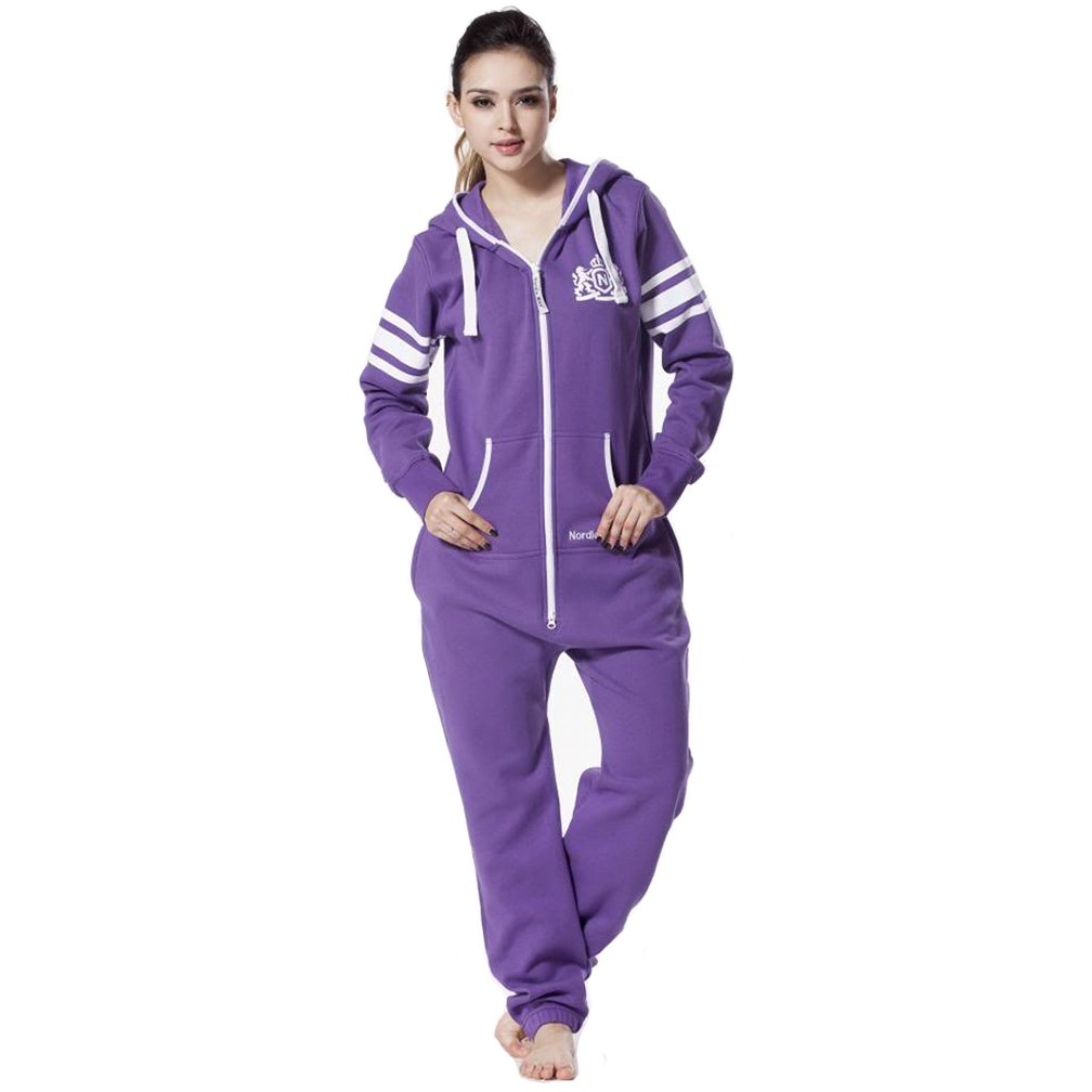 Nordic Way Womens One Piece Jumpsuit Hoodie Zip All In One Playsuit Romper
