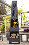 519DKL2VC L. SL160  - BEST BUY #1 La Hacienda 150 cm Oxford Contemporary Steel Chiminea Patio Heater with Wood Store - Black