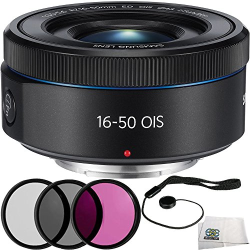 Samsung 16-50mm f/3.5-5.6 Power Zoom ED OIS Lens (Black) International Version (No Warranty) (White Box) 5PC Accessory Kit Includes 3PC Filter Kit (UV-CPL-FLD) + Cap Keeper + Microfiber Cleaning Cloth