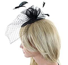 Cocktail Fashion Fascinator Hat with Flowers Feathers Net and Veil (Black)