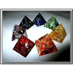 New Chakra 7 Orgone Pyramid Set Crystal Gemstones Rare Unique Metaphysical Gift