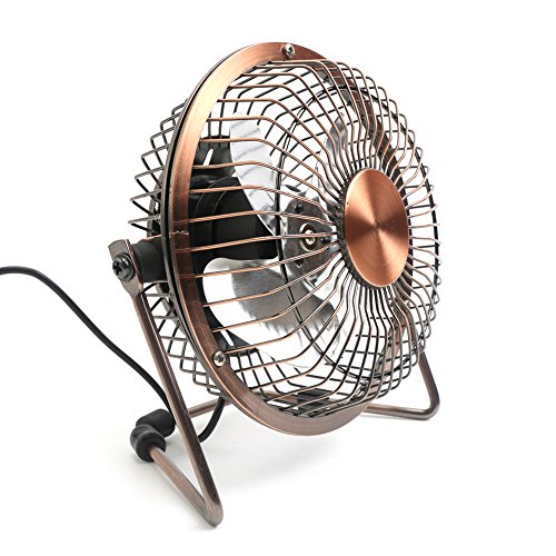 Honeyall Adjustable Desk Fan Metal Archaistic Fan Mute Personal Mini Fan Small Table Fan