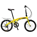 "Xspec 20"" 7 Speed Folding Compact Bike Bicycle Urban Commuter Shimano Yellow New"