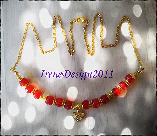 Gold Necklace with Facetted Red Ruby & Heart