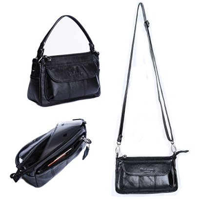 Gottowin-Womens-Genuine-Leather-Small-Purse-Handbag-Clutch-Carry-Bag-Cross-body-Bag-Tote-with-Handle-Black