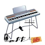 Korg SP250 88-Key Portable Digital Piano Bundle with Music Stand, Two 10-Foot Instrument Cables, Headphones, and Polishing Cloth - White