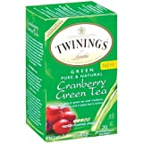 Twinings Cranberry Green Tea Box 20 Count, Pack of 2