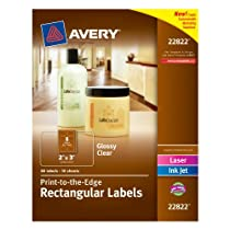 avery print to the edge rectangular labels glossy clear 2 x