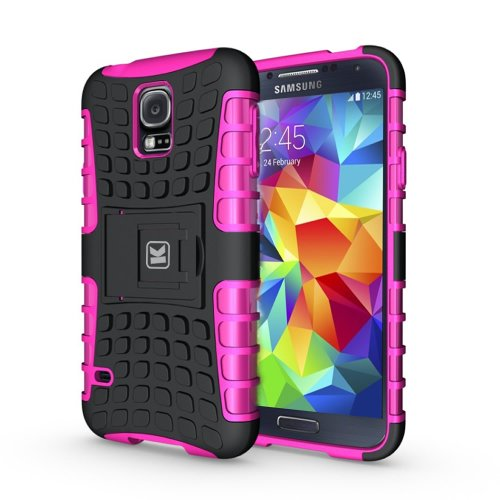 KAYSCASE Heavy Duty Cover Case for Samsung Galaxy S5 SV S V Smart Phone, 2014 Version (Lifetime Warranty)(Pink)
