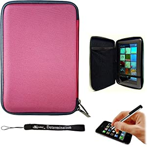 Pink Slim Hard Nylon Cube Portfolio Cover Carrying Case For Barnes & Noble NOOK COLOR eBook Reader Tablet + Includes a eBigValue (TM) Determination Hand Strap + Includes a Universal Graphic Designer Stylus Pen used for navigating your eReader