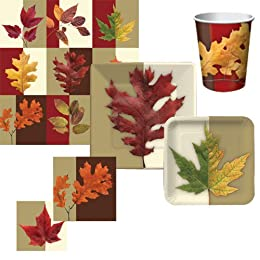 Product Image 57 Pc Autumn Foliage Tableware Pack For 8
