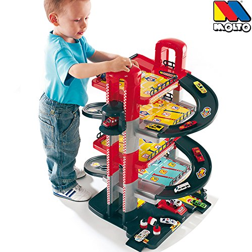 Parkgarage-5-Ebenen-71cm-stabiler-Kunststoff-man-Aufzug-Auto-Spielzeug-Garage-Spielstrasse-Spielzeugauto-5-Etagen-Parkhaus