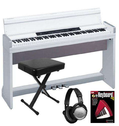 Korg LP-350 White Digital Piano ESSENTIALS BUNDLE w/ Bench, Headphones