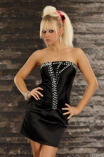 Minikleid Bandeau Abendkleid mit großen Strass Steinen Satin Optik schwarz