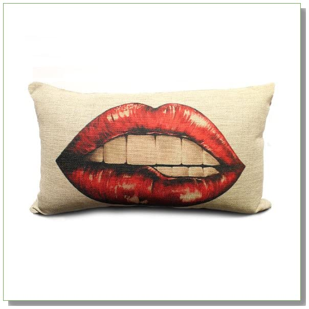 Ojia Cotton Linen Decorative Throw Pillow Cover Cushion Case, Sexy Red Lips
