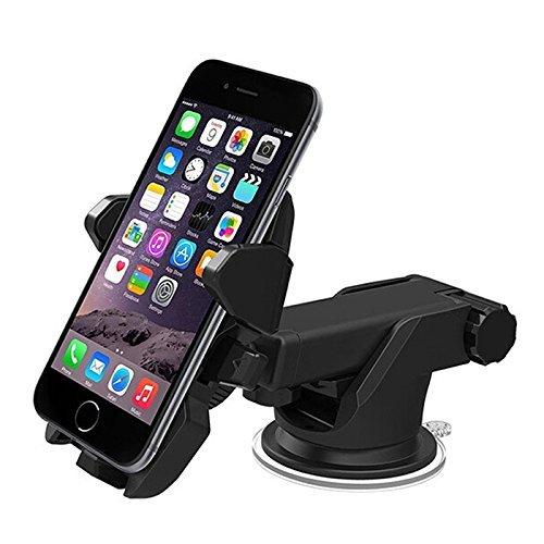 Yihiro 車載ホルダー カーホルダー  伸縮アーム 粘着ゲル吸盤  360度回転可能 多機種スマートフォン対応 スタンド マウント 車 カー 用品 ブラック
