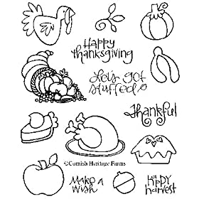 Let's Get Stuffed - Thanksgiving & Turkey Cling Mounted Red Rubber Stamp Set from the KIM HUGHES COLLECTION by Cornish Heritage Farms