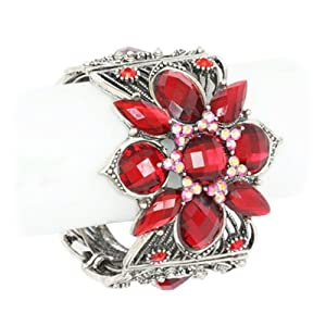 Antique Red Crystal and Beaded Cuff Bangle Bracelet Fashion Jewelry
