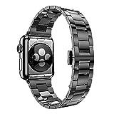 アップルウォッチ用 交換バンド For apple watch 42mm用 高級ステンレス 超薄0.2cmベルト 交換リストバンド 時計バンド 腕時計ストラップ 【hoco正規品】 収納袋付く (ブラック) [並行輸入品]