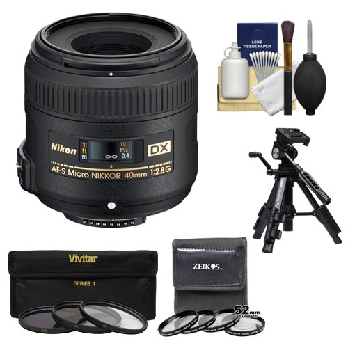 Nikon 40mm f/2.8 G DX AF-S Micro-Nikkor Lens + 7 UV/CPL/ND8 & Close-Up Filters + Macro Tripod Kit for D3200, D3300, D5300, D5500, D7100, D7200 Cameras