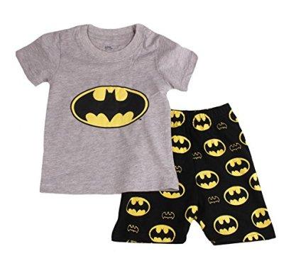 Baby-House-Bat-Man-Boys-Shorts-2-Piece-Pajama-set-100-Cotton-G6057T4Gray4T