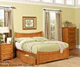 King Size Platform Bed with Footboard Caramel Latte Finish