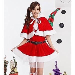 選べる 4種類 Xmas クリスマス コスプレ コスチューム サンタクロース サンタ 衣装 子供 女性 男性 用 衣装 パーティ 忘年会 宴会 グッズ (サンタクロース 女性用 Ver1, フリーサイズ)