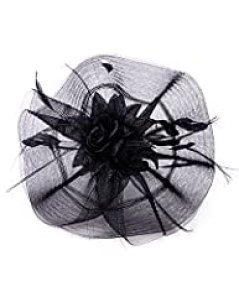 NYfashion101 Glittered Center Rose Jeweled Feather Ruffle Sinamay Fascinator