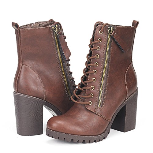 DREAM PAIRS SILVERADO Women's Vegan Round Toe Stacked Lug Heel Lace Up Ziopper Ankle Booties Boots Brown Size 7.5