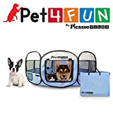"""PET4FUN® PN935 35"""" Portable Pet Puppy Dog Cat Animal Playpen Yard Crates Kennel w/ Premium 600D Oxford Cloth, Tool-Free Setup, Carry Bag, Removable Security Mesh Cover/Shade, 2 Storage Pockets (BLUE)"""
