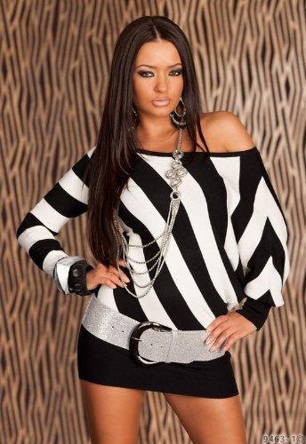 Sexy Strick Minikleid Damen Kleid Einheitsgröße Gr. 34 36 38 in Schwarz Weiß