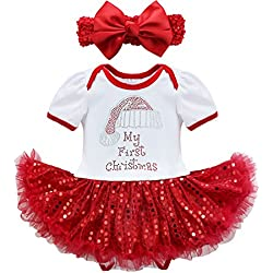 feeshow baby girls my first christmas outfit romper tutu dress with headband set
