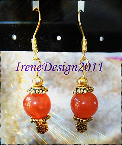 Orange Topaz & Rose Earrings