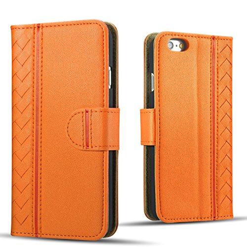 【販売記念価格限定100個】Drool iPhone6s アイフォン6 ケース カバー 手帳型 スタンド機能 カード収納 3枚 ポケット付き シューズ専用レザーを使用した丈夫でオシャレな大人編み込みデザイン kmd601o オレンジ/orange