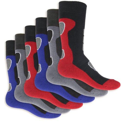 6 Paar Herren Thermo Socken Vollfrottee im sportlichen Design – super weich und warm – in 3 modischen Farbkombinationen