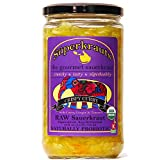 Curry GOURMET SAUERKRAUT - Organic & Kosher, Raw Fermented, Unpasteurized, Probiotic. Free Shipping w/Minimum. 14 Flavors available! 24 fl.oz. (incl. brine).