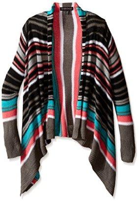 Derek-Heart-Girls-Big-Girls-Long-Sleeve-Marled-Stripe-Jersey-Open-Front-Cozy-Black-Beau-M10-12
