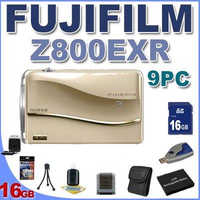 Fujifilm Z800EXR 12 MP Digital Point and Shoot Camera (Gold) BigVALUEInc 9PC Saver Bundle!