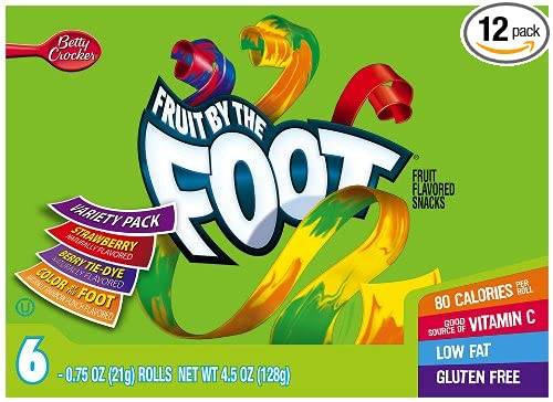 Fruit by the Foot Variety Pack (Strawberry, Color by the Foot, Tie Dye), 6-Count Rolls, 0.75 Ounce, (Pack of 12)