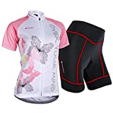 Sponeed Women's Cycle Jersey Bike Clothing Gel Padded Short Sleeve Butterfly Size XL US Pink