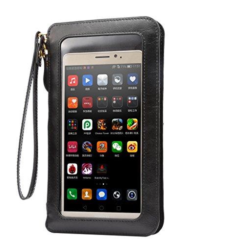 【YR】 携帯電話ポーチ ミニ ショルダーバッグ レディースバッグ ハンドバッグ 上質のレザー 入れたまま触れる 防塵 全面保護 IPhone5S/IPhone SE/Iphone 6S/Iphone 6S Plus/Galaxy/Xperia/AQUOS/ARROWS対応 レディースバッグ カメラポーチ ホルスター ケース アイフォン6/アイフォン6プラスポーチ -黒