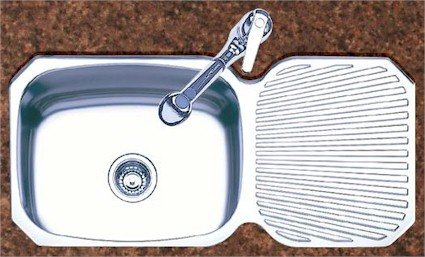 Oliveri 220 0 Stainless Steel Sink, Single Basin With R/L Drainboard,
