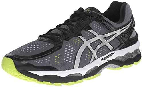 ASICS Men's Gel Kayano 22 Running Shoe, Charcoal/Silver/Lime, 14 4E US