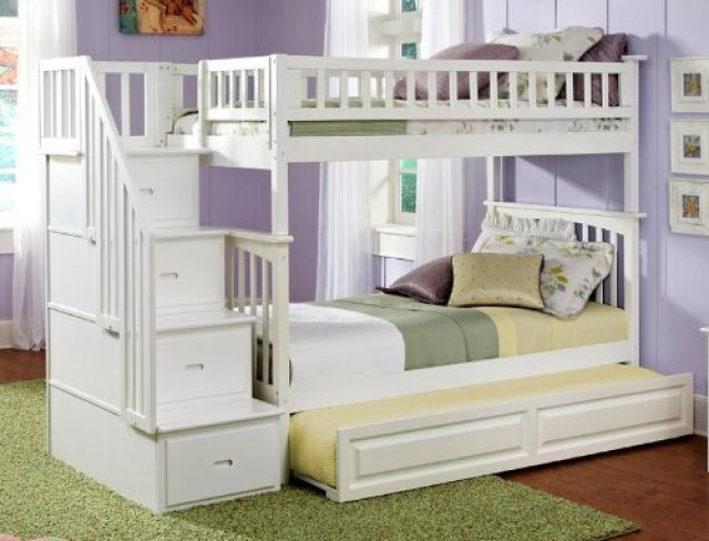 Columbia Staircase Bunk Bed Full Over Full with Twin Size Trundle
