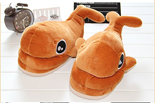 [Paws 'n' Claws] Cute Fuzzy Big Eyes Whale Winter Warm Plush Slippers,Brown