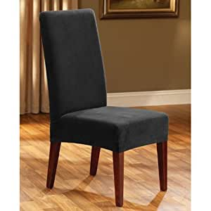 Sure Fit Stretch Pique Shorty Dining Room Chair Slipcover Black Home Amp Kitchen