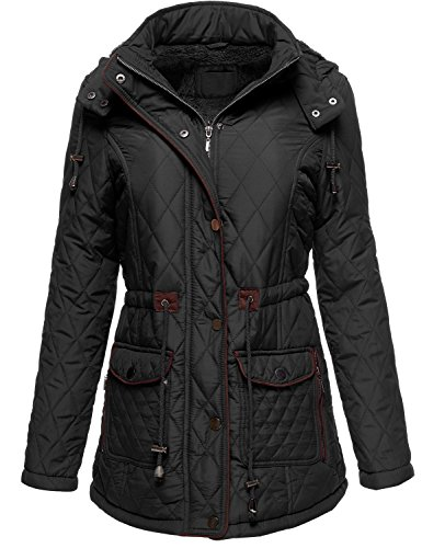 Winter Slim Fit Quilted Fur Lined Hoodie Padding Jackets, Large, 081-Black