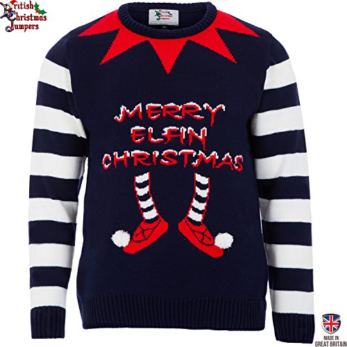 Elfin Christmas - Navy - Mens Christmas Sweater by British Christmas Jumpers (Small)