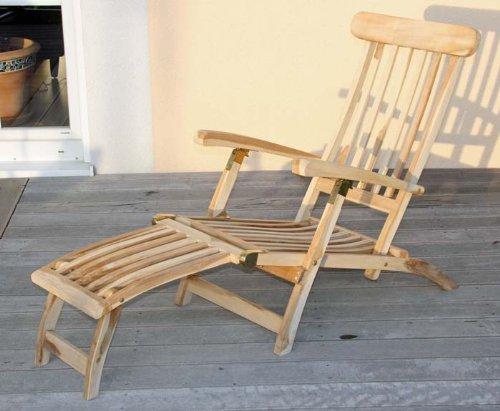 Deckchair Sonnenliege Relaxliege, 146x57x96cm, wetterfest ~ Teak, montiert, ohne Auflage